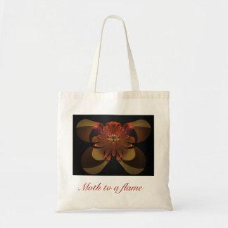 Moth to a flame budget tote bag