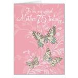 Mother 75th birthday butterflies card
