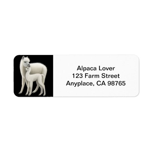Mother Alpaca and Cria Love Return Address Label