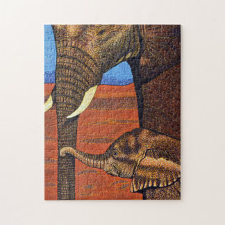 Mother and Baby African Elephants Puzzle