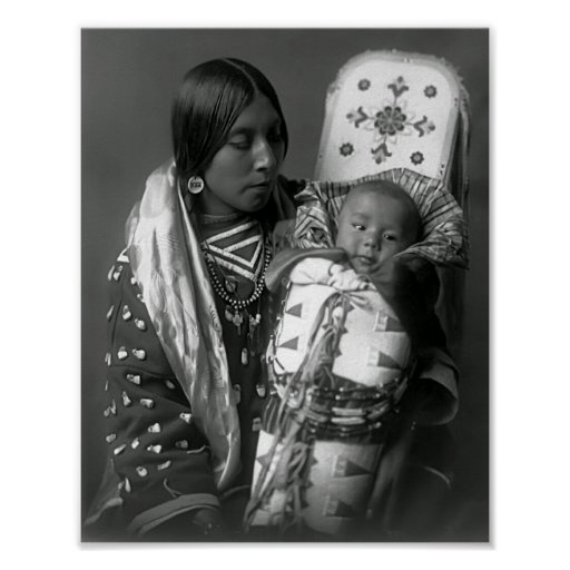 MOTHER and BABY APSAROKE 1908 Print