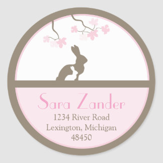 Mother and Baby Bunny Address Label Round Sticker