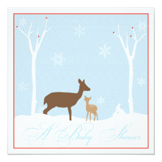 """Mother and Baby Deer Baby Shower Invitation 5.25"""" Square Invitation Card"""