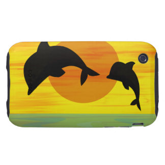Mother and Baby Dolphin at Sunset Tough iPhone 3 Case