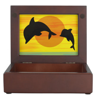 Mother and Baby Dolphin at Sunset Keepsake Boxes
