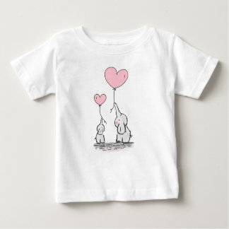 Mother and Baby Elephants With Pink Heart Balloons Baby T-Shirt