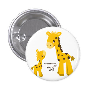 Mother and Baby Giraffe Pinback Button
