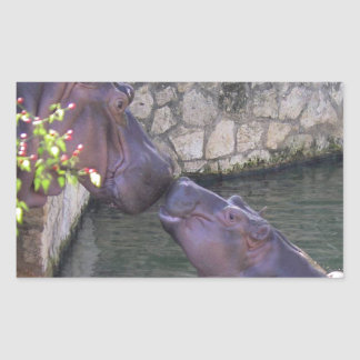 Mother and Baby Hippo Greeting Rectangular Sticker