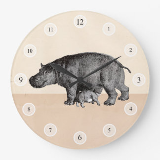 Mother and baby hippos clock