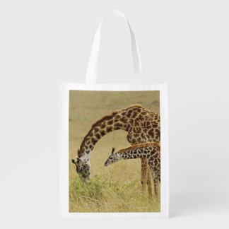 Mother and baby Masai Giraffe, Giraffa Reusable Grocery Bags
