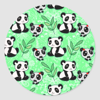 Mother and Baby Panda Green Pattern Round Stickers