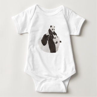 Mother and baby panda playing baby bodysuit