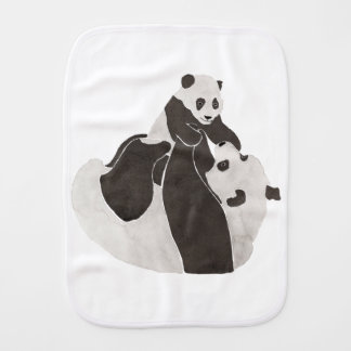 Mother and baby panda playing burp cloth