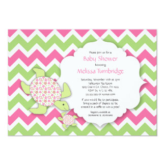 Mother and Baby Sea Turtle Girl Baby Shower 13 Cm X 18 Cm Invitation Card
