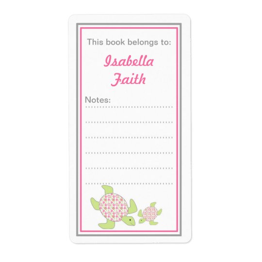 Mother and Baby Sea Turtles bookplates baby shower Shipping Label
