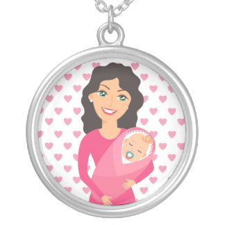 MOTHER AND BABY SILVER PLATED NECKLACE