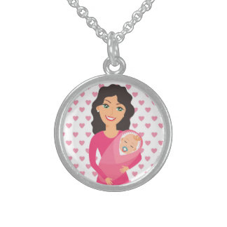 MOTHER AND BABY STERLING SILVER NECKLACE