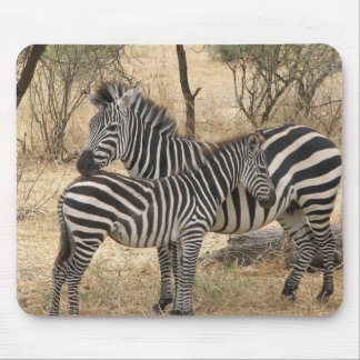 Mother and Baby Zebra Mouse Pad