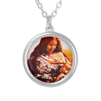 MOTHER AND CHILD 2 SILVER PLATED NECKLACE