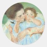 Mother and Child by Cassatt, Vintage Impressionism Round Stickers