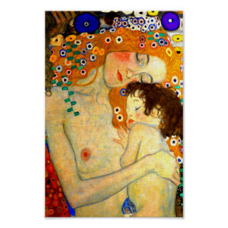 Mother and Child by Gustav Klimt Art Nouveau Poster