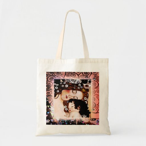Mother and Child by Gustav Klimt Collage Canvas Bag