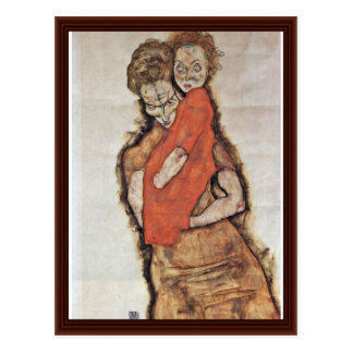 Mother And Child By Schiele Egon Postcard