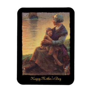 Mother and Child by Shore Rectangle Magnet