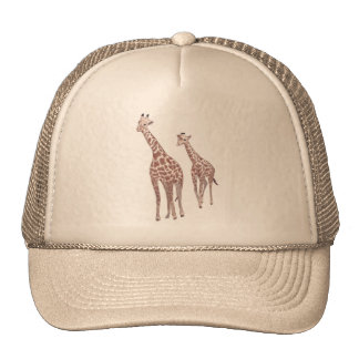 Mother and child giraffes drawing Hats