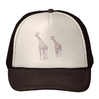 Mother and child giraffes outline drawing Hats