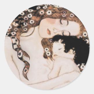 Mother and Child Gustav Klimt Round Sticker