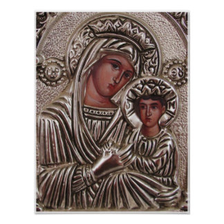 Mother and Child Icon, Madonna and Jesus in silver Poster