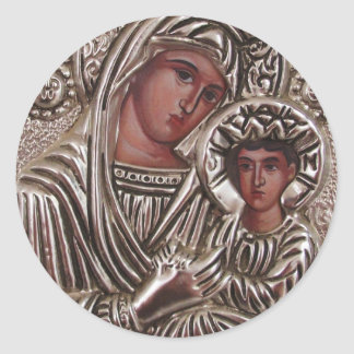 Mother and Child Icon, Madonna and Jesus in silver Round Sticker