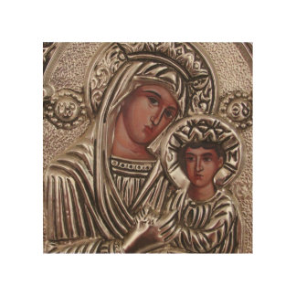 Mother and Child Icon, Madonna and Jesus in silver Wood Wall Decor