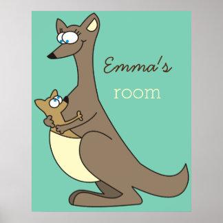 Mother and Child Kangaroo Custom Name Kids Room Poster
