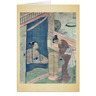 Mother and child near mosquito by Suzuki,Harunobu Card