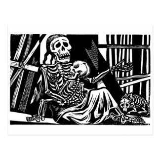 """""""Mother and Child Skeletons"""" by Leopoldo Mendez Postcard"""