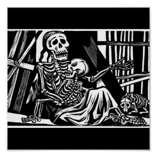 """Mother and Child Skeletons"" by Leopoldo Mendez. Poster"
