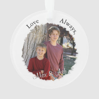 Mother and Child with Custom Text & Photo Ornament