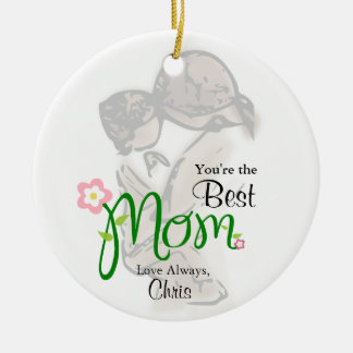 Mother and Child with Floral Mom & Custom Text Ceramic Ornament