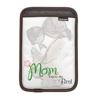 Mother and Child with Floral Mom & Custom Text iPad Mini Sleeve