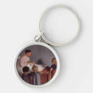Mother and children new baby art by Anna Ancher Keychains