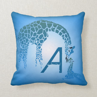 Mother and Cute Baby Giraffe Monogram | blue Cushion