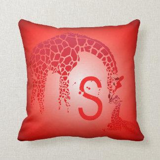 Mother and Cute Baby Giraffe Monogram   red Cushion