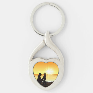 Mother and Daughter at Sunset Key Chain
