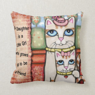 Mother and Daughter Cats Love Throw Pillow