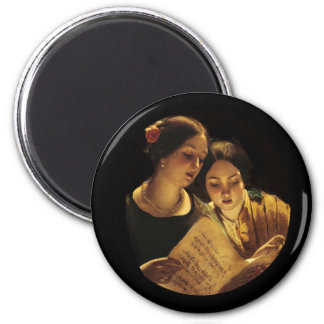 Mother and Daughter Duet 6 Cm Round Magnet