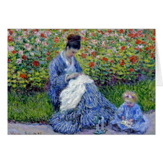 Mother and Daughter in Garden Card