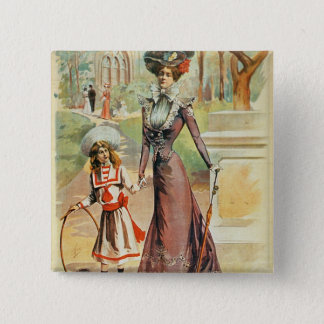 Mother and daughter on a walk (colour litho) 15 cm square badge