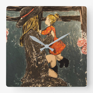 Mother and Daughter on the Farm Square Wall Clock